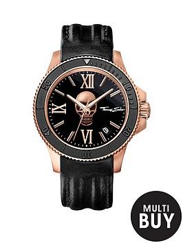thomas-sabo-rebel-icon-black-dial-rose-skull-leather-strap-mens-watchnbspplus-free-diamond-bracelet