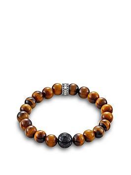 Thomas Sabo Thomas Sabo Sterling Silver Obsidian And Tigers Eye Semi Precious Stretch Bracelet