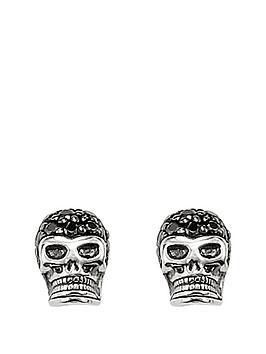Thomas Sabo Thomas Sabo Sterling Silver Crystal Set Mens Skull Earrings