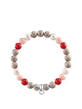 Thomas Sabo Thomas Sabo Semi Precious Bead Pink And Red Mix Stretch Charm Bracelet