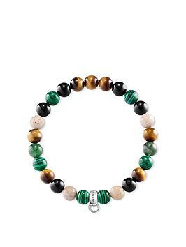 Thomas Sabo Thomas Sabo Semi Precious Bead Green Mix Stretch Charm Bracelet