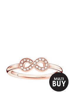 thomas-sabo-sterling-silver-rose-gold-plate-diamond-set-infinity-ringnbspplus-free-diamond-bracelet