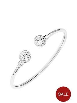 love-silver-sterling-silver-cubic-zirconia-flexi-cuff