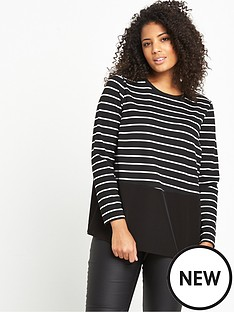so-fabulous-striped-jersey-woven-panel-top-blackwhite