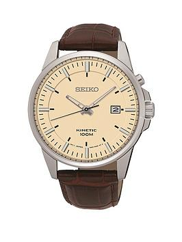 seiko-seiko-biege-dial-silver-tone-case-brown-leather-strap-mens-watch