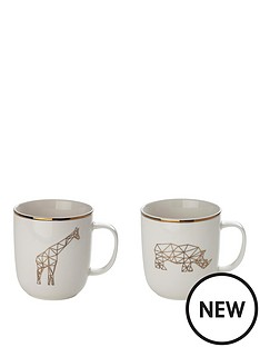 sabichi-set-of-2-giraffe-and-rhino-mugs