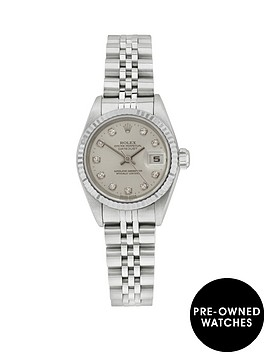 rolex-rolex-preowned-steel-datejust-original-silver-diamond-dial-reference-69174-ladies-watch-including-pa