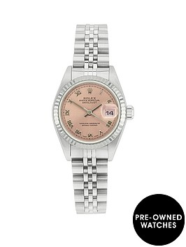 rolex-rolex-preowned-steel-datejust-salmon-dial-reference-69174-ladies-watch-including-papers