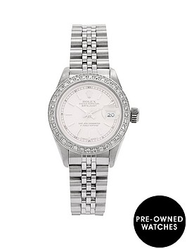 rolex-rolex-preowned-steel-datejust-silver-baton-dial-aftermaket-diamond-bezel-reference-69174-ladies-watc