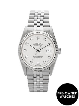 rolex-rolex-preowned-stainless-steel-datejust-original-silver-diamond-dial-reference-16234-mens-watch