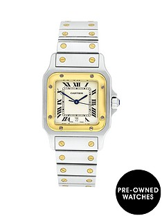 cartier-cartier-preowned-steel-amp-gold-santos-off-white-dial-black-roman-numerals-reference-1566-menswatch