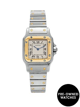 cartier-cartier-preowned-steel-amp-gold-santos-off-white-dial-black-roman-numerals-reference-1567-ladies-watch