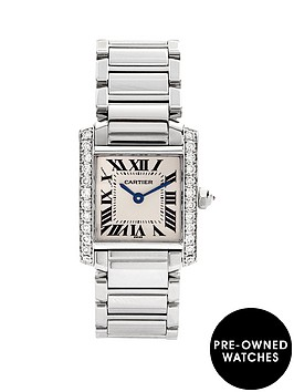 cartier-cartier-preowned-steel-tank-francaise-aftermarket-diamond-shoulders-off-white-dial-black-roman-numer