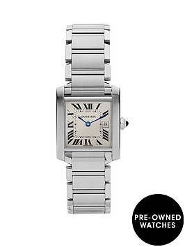 cartier-preowned-steel-tank-francaise-off-white-dial-black-roman-numerals-reference-2465-midsize-watch