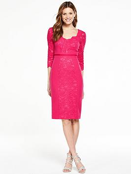 V By Very Premium Lace Panel Pencil Dress  Pink