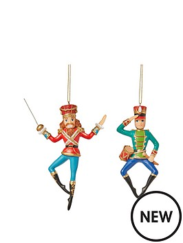 gisela-graham-nutcracker-soldier-resin-christmas-tree-decorations-set-of-2