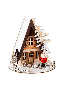 gisela-graham-wood-led-santa-cabin-ornament