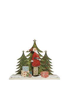 gisela-graham-old-time-3d-wooden-santa-christmas-ornament