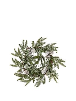 gisela-graham-green-fir-christmas-wreath-with-frosted-fir-cones