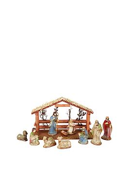 gisela-graham-christmas-nativity-scene-set-with-wooden-stable-andnbspceramic-figures-11-piece
