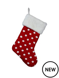 gisela-graham-red-and-white-knitted-christmas-stocking-with-fur-trim