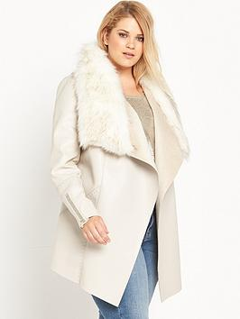 Ri Plus Faux Fur Fallaway Jacket  Cream
