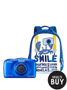 nikon-coolpix-w100-blue-camera-with-backpack-kit
