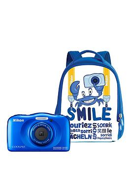 nikon-coolpix-w100-blue-camera-with-free-backpack-kit