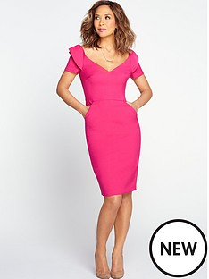 myleene-klass-origami-shoulder-pencil-dress-pink