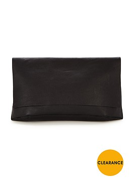warehouse-premium-leather-slouch-clutch-bag-black