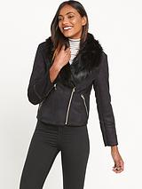 Miss Selfridge Black Shearling Jacket Bermis
