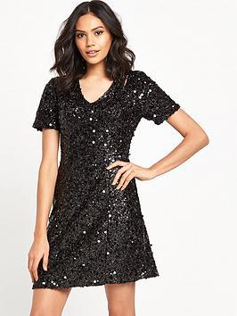 warehouse-sequin-flippy-dress-black
