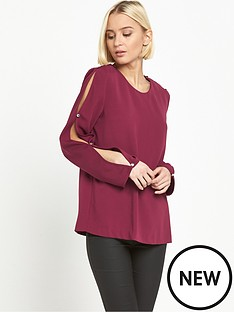 warehouse-diamante-button-sleeve-top