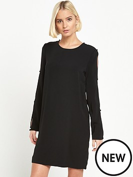 warehouse-diamante-button-sleeve-dress