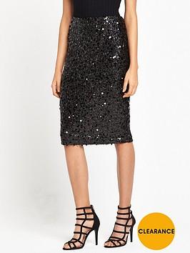 warehouse-sequin-skirt-black