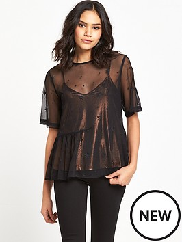 warehouse-star-embroidered-top-blackgold