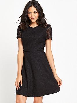 warehouse-bonded-lace-skater-dress-black
