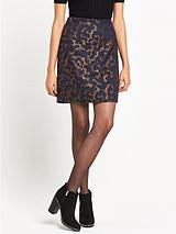 Warehouse Camo Animal Jacquard Pelmet Skirt