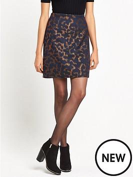 warehouse-warehouse-camo-animal-jacquard-pelmet-skirt