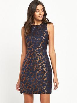 warehouse-camo-animal-jacquard-dress