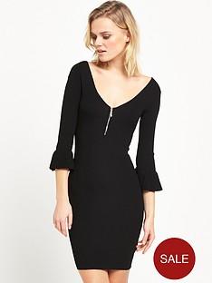 miss-selfridge-flute-sleeve-v-neck-mini-dress-black