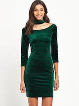Choker Velvet Dress - Green