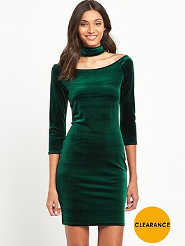 miss-selfridge-choker-velvet-dress-green