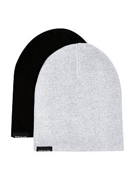 river-island-boys-2-pack-ribbed-beanie-hats