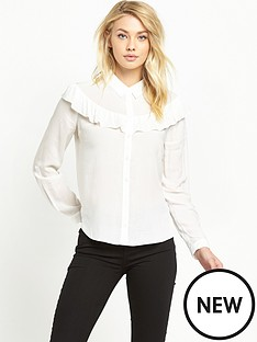 miss-selfridge-double-ruffle-shirt-ivory
