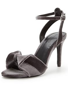 warehouse-velvet-bow-sandal-silver