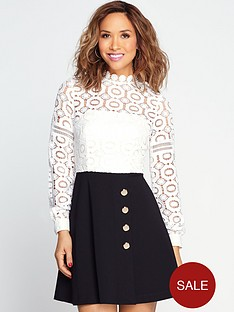 myleene-klass-guipure-top-skater-dress