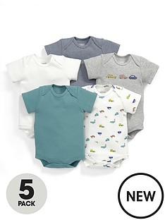 mamas-papas-baby-boys-car-bodysuits-5-pack
