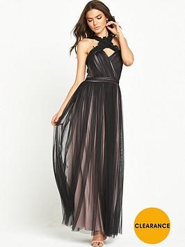 little-mistress-two-tone-cross-neck-maxi-dress-blackmink