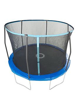 Sportspower EasiStore 10Ft Trampoline With Enclosure &Amp BlueGreen Flip Pad Frame